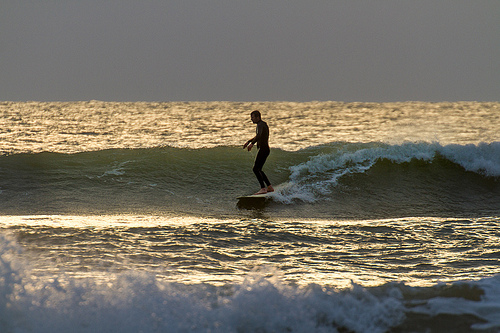 Sundown Surfer – One more wave at Compton Bay, Isle of Wight.