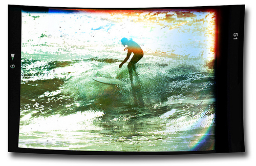 Vintage surfing style – Light leaks & imperfections at Freshwater Bay.